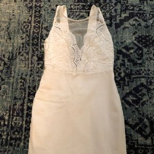 White Lace Fitted Dress Size S